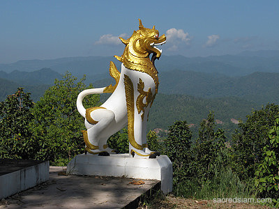 Singha lion guards a Mae Hong Son temple