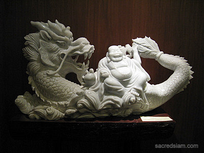 Laughing Buddha Statue With Dragon