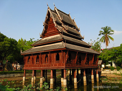 Thai temples: Scripture hall at Wat Thung Si Muang Ubon
